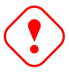 Red rhomb exclamation mark icon warning sign vector
