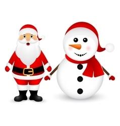Santa Claus and Christmas snowman vector