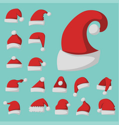 santa claus fashion red hat modern elegance cap vector image
