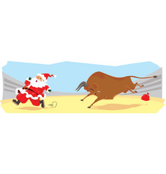 santa claus on corrida vector image