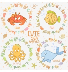 Sea animals set vector