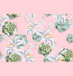 seamless floral pattern exotic tropical lilies vector image