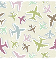 Seamless pattern with colorful airplanes in pastel vector