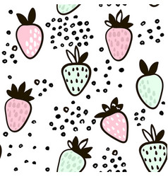 Seamless pattern with hand drawn strawberry cute vector