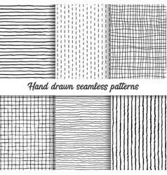 set hand drawn checkered seamless vector image