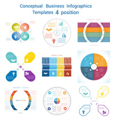 Set infographics conceptual cyclic processes four vector