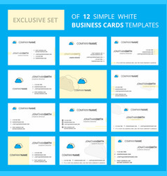 set of 12 clouds creative busienss card template vector image