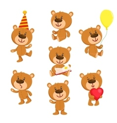 Set of cute teddy bear character standing sitting vector