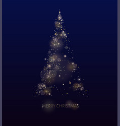 shining gold christmas tree glow dotted vector image