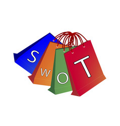 Shopping bags with swot analysis strategy manageme vector