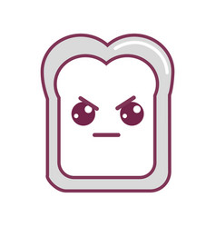 Silhouette kawaii cute angry bread icon vector
