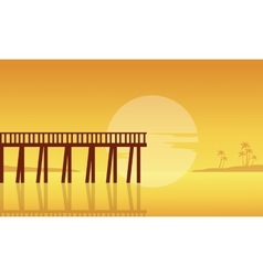 Silhouette of seaside with pier landscape vector