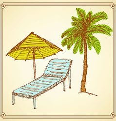 Sketch palm and deck chair in vintage style vector image