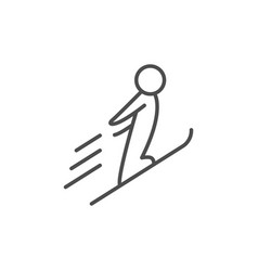 ski jumping line outline icon vector image