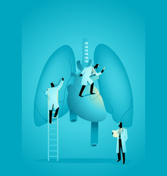 team doctors diagnose human lung and heart vector image