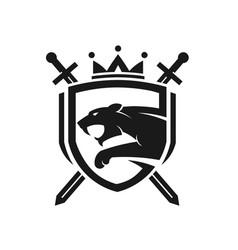 Tiger head with two crossed swordsshield logo vector