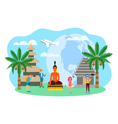 Travelers in asia indonesia bali sightseeing vector