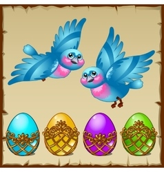 Two blue birds with colored eggs in a golden stand vector