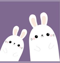 Two rabbit bunny in corner happy easter vector