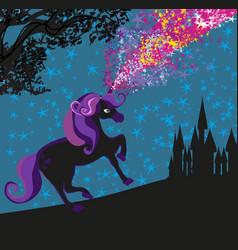 unicorn and castle vector image