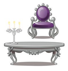 Vintage table with candle and chair isolated vector