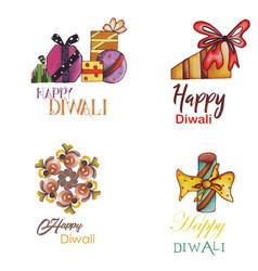 Watercolor diwali logo collection vector