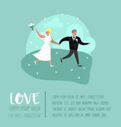 wedding people cartoons bride and groom characters vector image