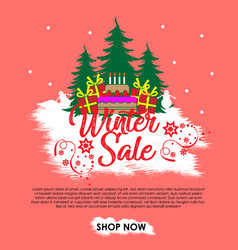 winter sale banner background with crishtmas tree vector image