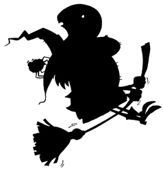 Witch silhouette cartoon vector