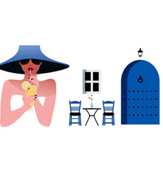 Woman with blue hat and sunglasses drinking a vector