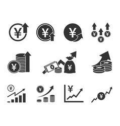 Yen currency increase icon set japanese money vector
