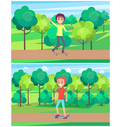 Young boy on skate in green park with trees vector