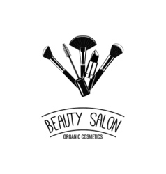 Beauty Salon Badge Makeup Brushes Logo vector image vector image