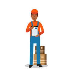 delivery service worker delivering boxes and vector image vector image