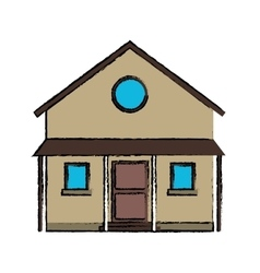 Drawing familiy house countryside vector