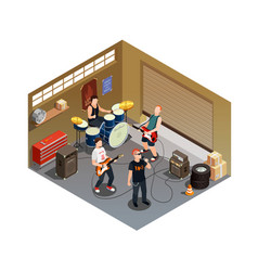 garage band isometric composition vector image