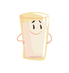 glass of milk cartoon character element for menu vector image vector image
