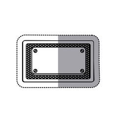 sticker silhouette grille perforated frame with vector image vector image