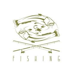 Vintage fishing Label vector image vector image