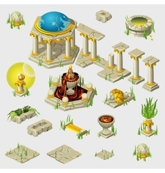 Ancient decoration buildings tiles sculptures vector image