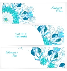 Blue floral ornament banners set vector image vector image