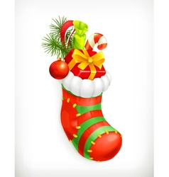 Christmas sock with gifts icon vector image vector image