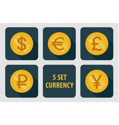 currency set of icons on dark background vector image