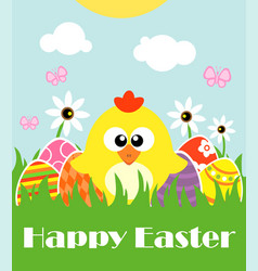 happy easter background card with funny chicken vector image vector image