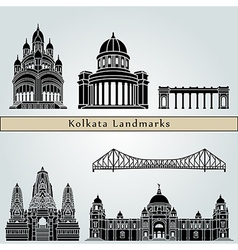 Kolkata landmarks and monuments vector image vector image