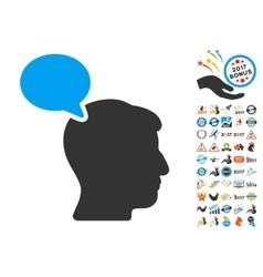 Person opinion icon with 2017 year bonus symbols vector