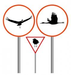 birds traffic sign vector image vector image