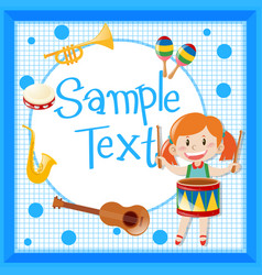Border design with girl playing drum vector