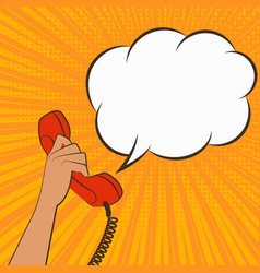female hand with telephone handset vector image vector image