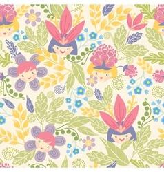 Flower girls seamless pattern background vector image